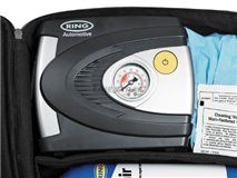 Emergency tire kit with compressor
