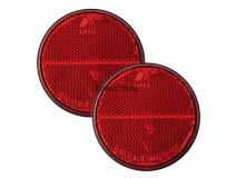 2x Red Round Reflectors (Adhesive Fitting)