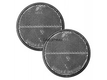 2x White Round Reflectors (Adhesive Fitting)