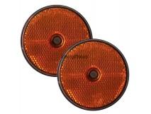 2x Orange Round Reflectors (Screw Fitting)