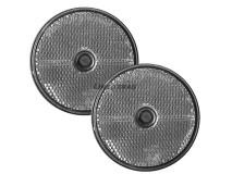 2x White Round Reflectors (Screw Fitting)